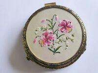 1950s Vintage Petit Point & Gold Ormolu Jewellery Casket, Tapestry Trinket Box