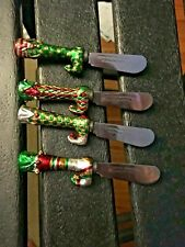 Set of 4 Boston Warehouse Stainless Steel Cheese Spreaders Christmas Stockings!