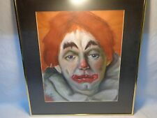 VTG FRENCH CIRCUS CLOWN WALL ART ARTIST SIGNED CHALK PAINTING HOLLYWOOD REGENCY