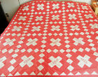 Vintage Hand & Machine Sewn Quilt Top 80' x 80' w/Embroidery c1940's FREE SHIP