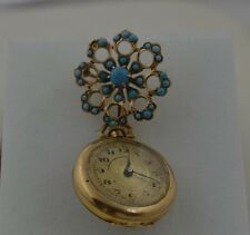 PW341  14K GOLD VINTAGE HAND WINED LADIES LAPEL WATCH 15 JEWELS WITH TURQUISE.