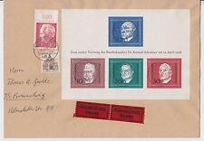 """Bund - Block 4 - """"Konrad Adenauer"""" 19.4.1968 auf Eilbotenbrief - Ortsbrief BS !!"""