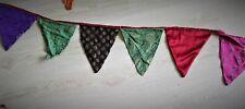 Handmade Multi-Color recycled  Silk Fabric Bunting sari flag wall Party Decor