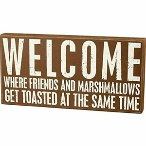 """Primitives by Kathy Rustic Brown Box Sign, Get Toasted, 16"""" x 8"""""""
