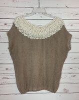A'Reve Anthropologie Women's S Small Lace Short Sleeve Cute Fall Sweater Top
