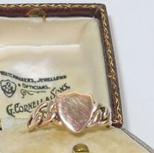 Victorian 9K gold ring in the form of a shield, signed, size 8
