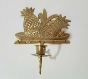 Solid Brass Pineapple Bouquet Fruit Salad Wall Mount Candle Sconce & Key Holder