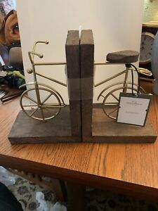BICYCLE BOOKENDS - WOOD & BRASS BY THRESHOLD