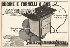 W2912 Cucine e Fornelli a gas AEQUATOR - Pubblicità del 1937 - Old advertising