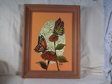 Reverse Glass Painting Monarch Butterflies Signed Nancy