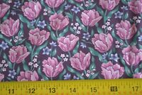 By 1/2 Yd, Pink, Green, Blue & Burgundy Floral on Black Quilting Cotton, N1237