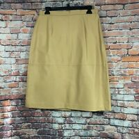Terry Lewis Womens Classic Luxuries Lined Leather Skirt Tan 12 Petite NWT