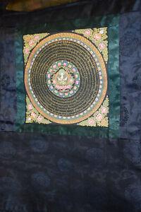 Thangka Tibet Mandala Prajnaparamita 24KtGoldminiaturmal Schriftzeichen 67x54cm