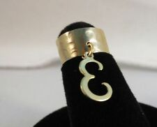 14Kt Gold Ep Dangle Initial E Toe Ring In A Hammered Ring