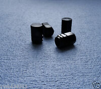 FORD BLACK METAL DUST VALVE CAPS TYRE WHEEL ALUMINIUM SOLID HEXAGON COVER 4PCS
