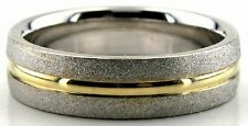 TWO TONE 14K GOLD WEDDING RINGS BAND MENS WOMENS 6MM WIDE TWO TONE WEDDING BANDS