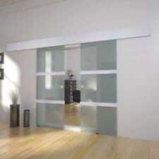 vidaXL Double Sliding Door Glass Track System Modern Space-saving Furniture