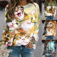 Women Cat Print Long Sleeve Sweatshirt Ladies Blouse Pullover Tops O-Neck Jumper
