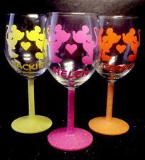 Personalised Mickey & Minnie Kissing Wine Glasses Disney
