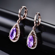 HUCHE Luxury 18K Rose Gold Filled Drop Shape Amethyst Lady Banquet Daily Earring