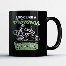 Sportbike Coffee Mug - Ride Like A Pro - Adorable 11 oz Black Ceramic Tea Cup -