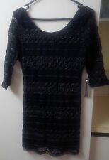 New Supre black fitted lace dress size L