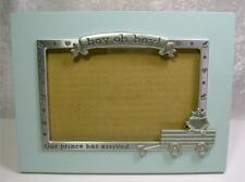 "Baby Boy Frame Photo Size 4x6""  Tabletop Decor Pale Aqua Pewter Accents Prince"