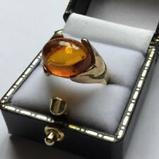 Vtg HM Hallmarked 9ct 9ct Yellow Gold Simple Oval Bezel Amber Ring, Size N 1/2