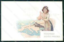 WW1 WWI Propaganda Anti German Map cartolina postcard XF7905