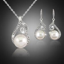 Kristall Strass Perlen Schmuck Set Halskette Ohrringe Braut-Hochzeit