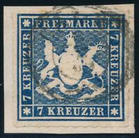WÜRTTEMBERG, MiNr. 35 a, sauber gestempelt, Briefstück,gepr. Heinrich, Mi. 160,-