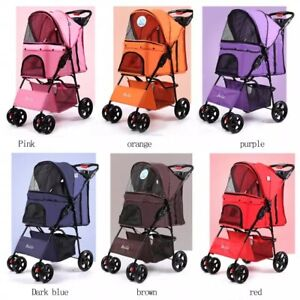 Dog Stroller 4 Wheels Foldable Pet Trolley Carrier for Medium Large Cats Dogs