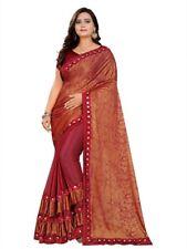 Lycra Designer Saree – Festive Occasion Wedding Party Wear – Indian Contemporary