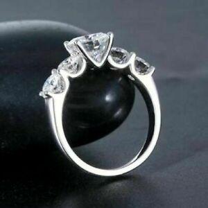 3.00 ct Round Brilliant Cut Diamond Wedding Ring Hallmark 14k White Gold