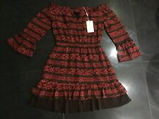 NWT Foxiedox New Ladies Small UK 8/10 Gypsy Style Short Brick Red Lace Dress
