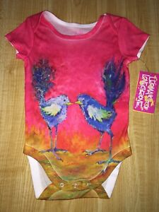 NEW LEOMA LOVEGROVE BABY ONE PIECE 9 MONTHS CUTE PINK BIRDS LITTLE LEOMA GIRL'S