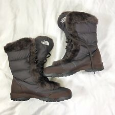 2bcf4a907c1 THE NORTH FACE Brown Winter Grip Goose Down Snow Boots Faux Fur Collar Sz  8.5