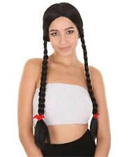Women Black Long Two Double Braids Wig for Cosplay Village Girl Party HW-2182