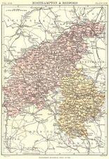 Northamptonshire & Bedfordshire. Britannica 9th EDIZIONE County MAP 1898