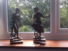 More details for antique spelter figurines of a woman and a man