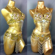 NEW handmade fully beads Belly Dance Costume Outfit Set Bra Belt Carnival 2PCS