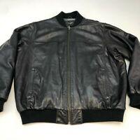 Sean John Leather Jacket Mens 2XL XXL Long Sleeve Black Full Zip Polyester