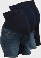 ladies new denim maternity shorts overbump waistband XXL US XXXL Uk Dark Blue