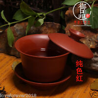 Chinese kung fu tea set red stoneware tea service gaiwan lid bowl cup saucer red