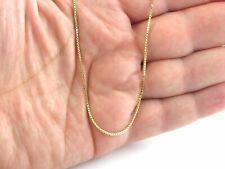 "14K oro amarillo macizo Caja Delgada Cadena Collar 16"" 18"" 20"" 22"" 24"" 26"" 30"""