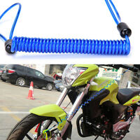 Motorcycle Bike Scooter Alarm Disc Lock Security Spring Reminder Cable Blue LIAU