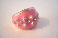 Gold Tone Enamel Pink Diamante Spiky Statement Ring Size P