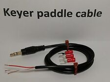 "CW Keyer paddle Cable 3 feet, 1/8"" (3.5mm) Plug, Gold STRAIGHT KEY Morse code"