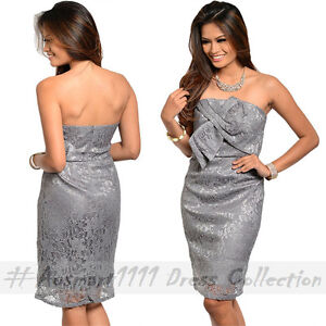 Grey Strapless Knotted Bow Sexy Formal Evening Wear Cocktail Party Midi Dress
