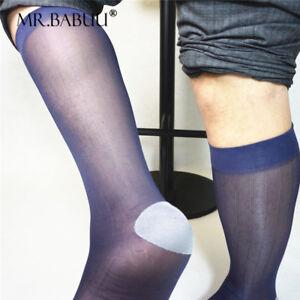 2Pairs Men's Wide Striped Long Dress Sheer Nylon Silky Summer Suit Formal Socks